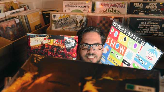 Mark Grounds of Wax Buildup record store and cafe in Maroochydore celebrated International Record Day.