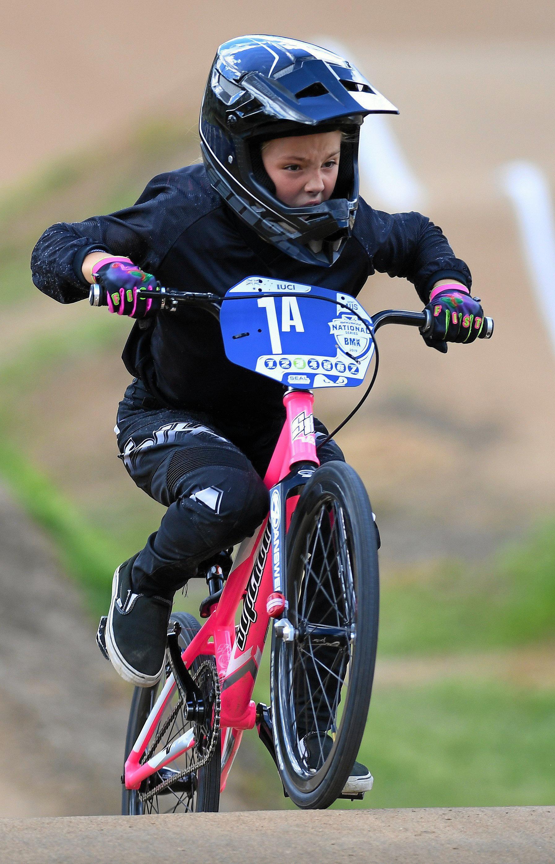 Sophia Preston  from the Ipswich West Moreton BMC Club  in action during the 2019 BMXA BAD BOY National Series at the Ipswich West Moreton BMC Club on Saturday.