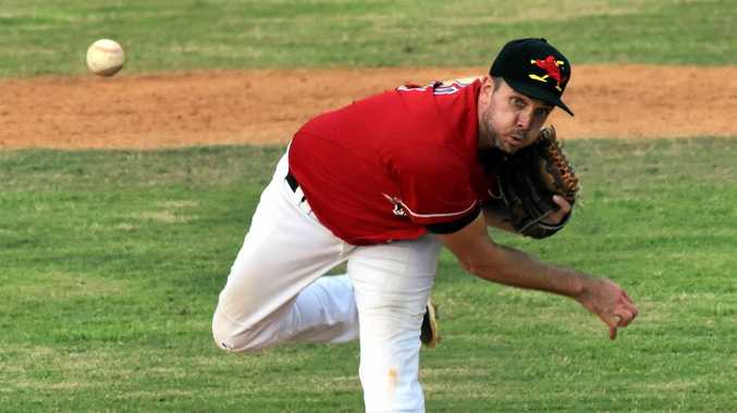 STRIKE FORCE: Robbie Pruess pitching for Easts Redbirds in Far North Coast Major League baseball.