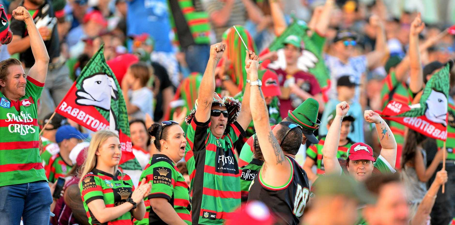 NRL action at Sunshine Coast Stadium between New Zealand Warriors and the South Sydney Rabbitohs. A record crowd of 11,912.