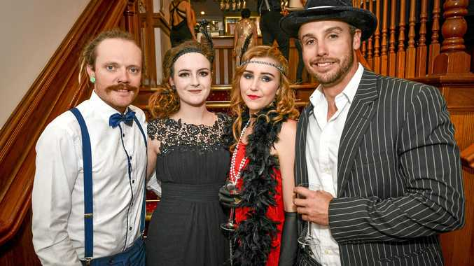 Clayton Sorensen, Jess White, Lex Roach and Tim Pawsey at the Rotary Club of Gladstone's 1920's Gangster's and Flapper's Ball held at Gladstone's Oak's Grand Hotel on 13 April 2019.