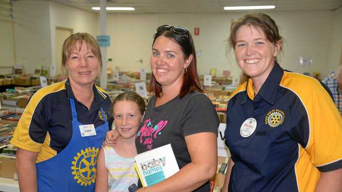Rotary Club of Warwick Sunrise president Laureen Vanderwolf, Alicia and Belinda Benz and Rotary member Shelley Green at the Big Book Sale in Albion St.
