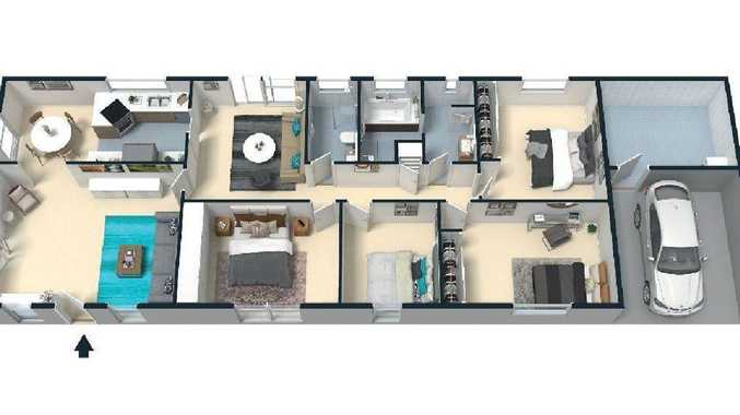 A floor plan of the former home of the Manrique-Lutz family in Davidson in Sydney's north where mum, dad and the kids died. Picture: Realestate.com.au