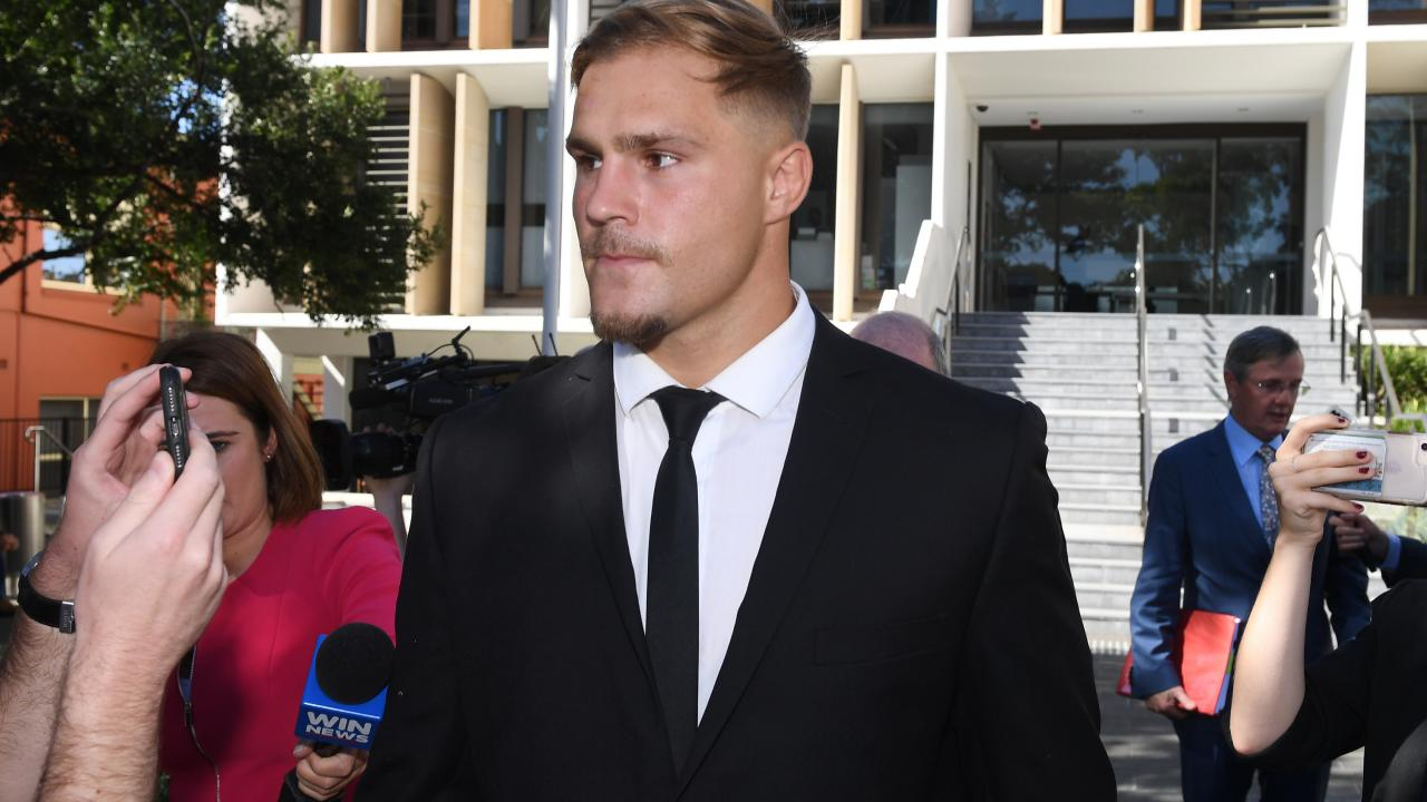 St. George Illawarra Dragons player Jack de Belin leaves Wollongong Local Court in  February.