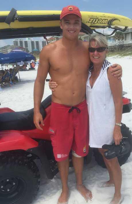 Reece lifeguarding in Fort Walton Beach, Florida.