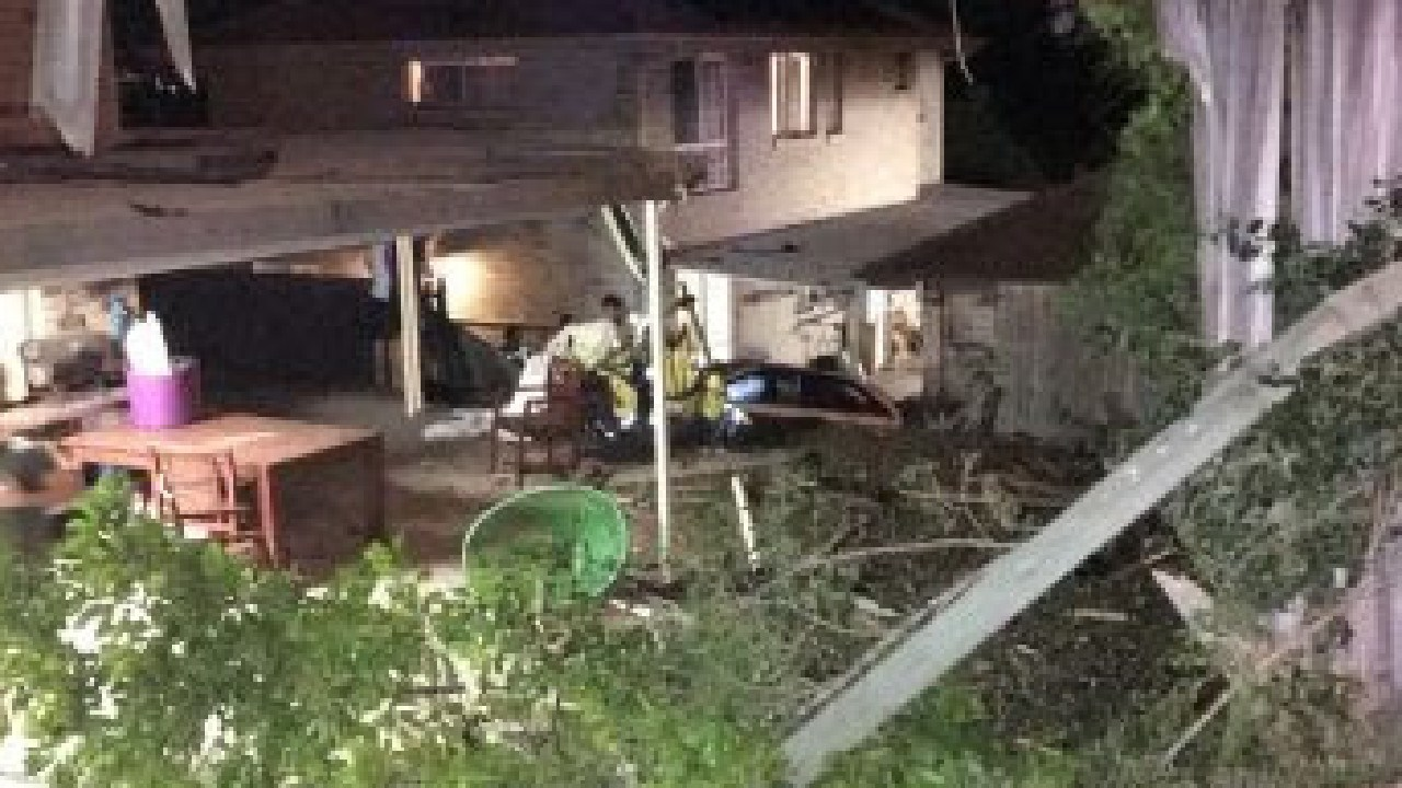 A car slammed into two homes on Sumner Road in Brisbane's south overnight.