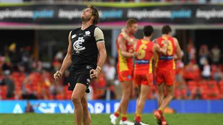 Carlton blew a golden opportunity to end its drought against Gold Coast. Picture: AAP Image/Dave Hunt.