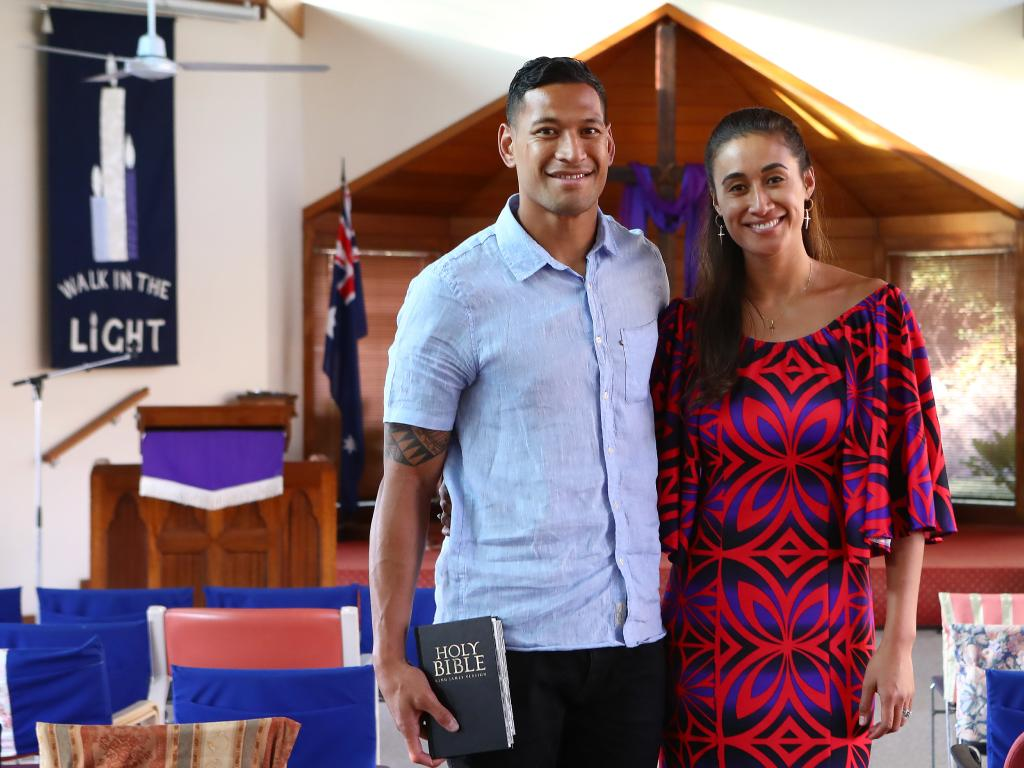 Israel Folau with his wife Maria Folau at Kenthurst Uniting Church after a Sunday service. Picture: Hollie Adams/The Australian