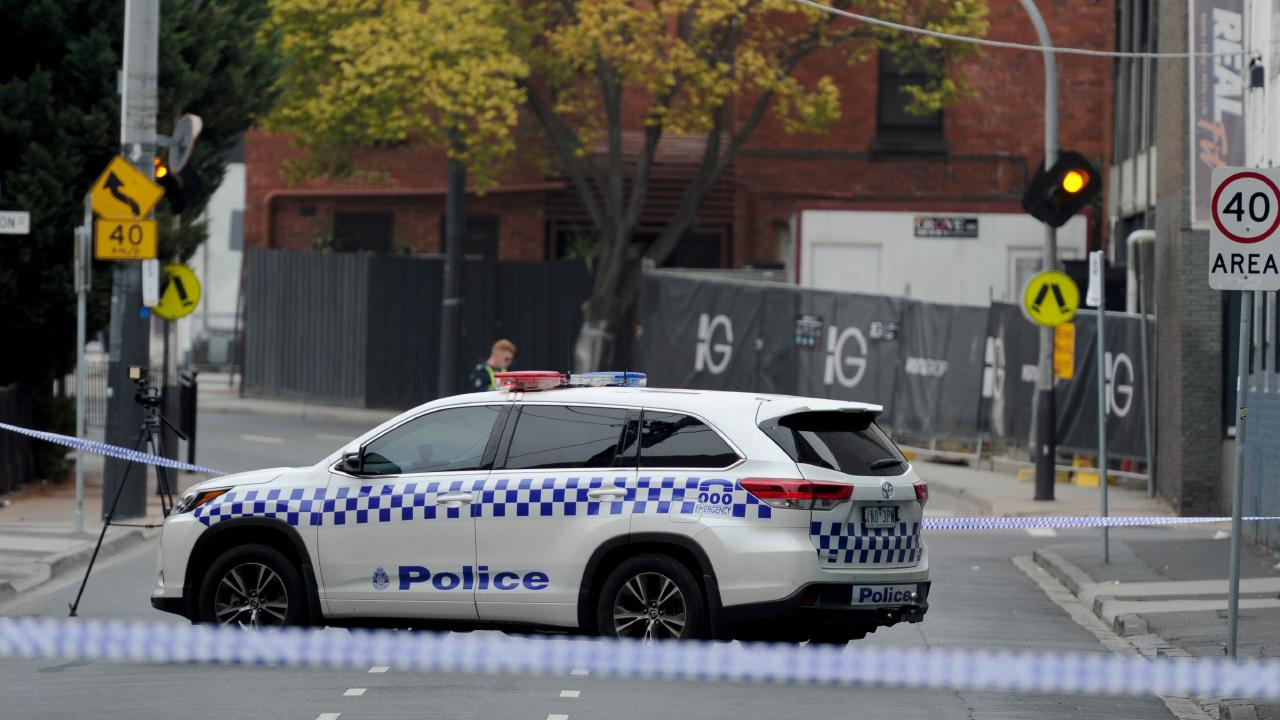 Police at the scene of an early morning shooting outside the Love Machine nightclub in Prahran. Picture: Andrew Henshaw