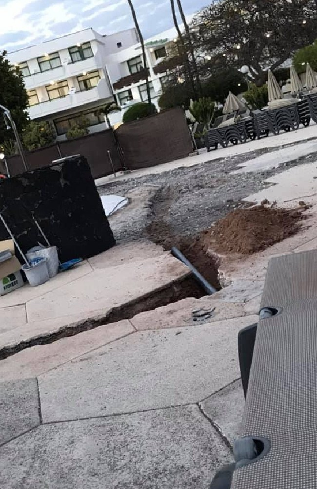 The family say the area by the pool was disrupted by workmen as they tried to enjoy their holiday