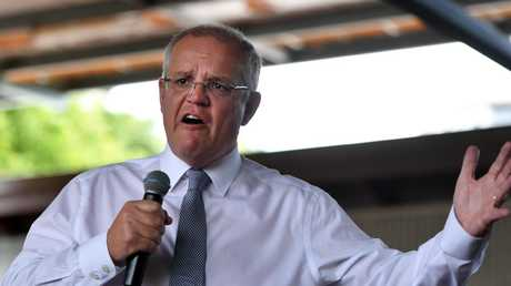 The crowd went wild for Scott Morrison at Brisbane Showground. Picture: AAP Image/Mick Tsikas
