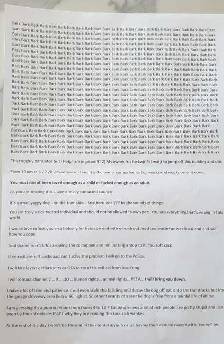 The letter featured long ramblings from a stranger, directed to everyone in the apartment complex.