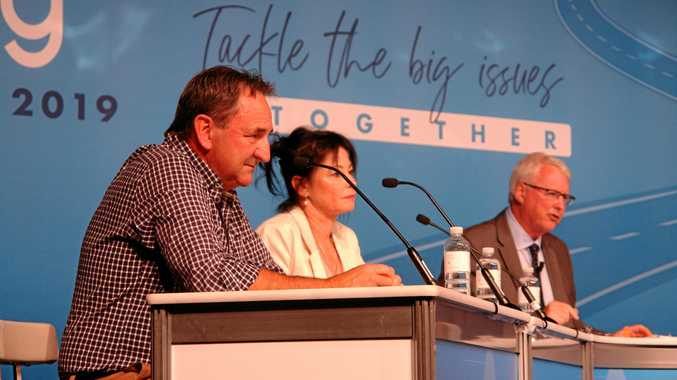 TACKLING THE ISSUES: Q&A host Tony Jones, right, puts pertinent questions to Sharon Middleton and WA senator Glenn Sterle.