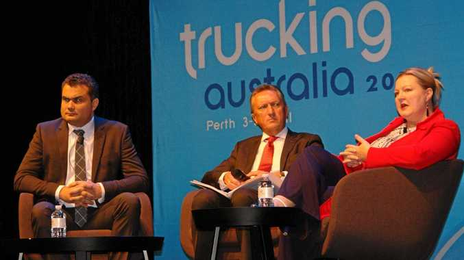 THE PANEL: Adam Gibson, Geoff Crouch and Dr Sarah Jones share sobering facts and figures with delegates.
