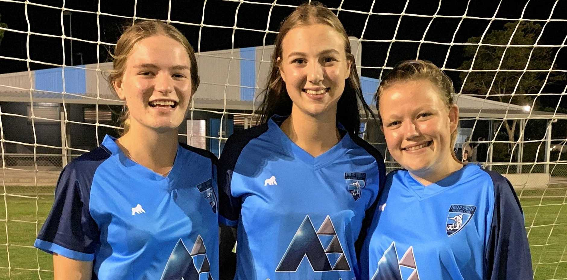 RISING STARS: Tweed United young guns Maya Rodgers, Isabel Selby and Savana Aspery after their Round 1 win over Southport.