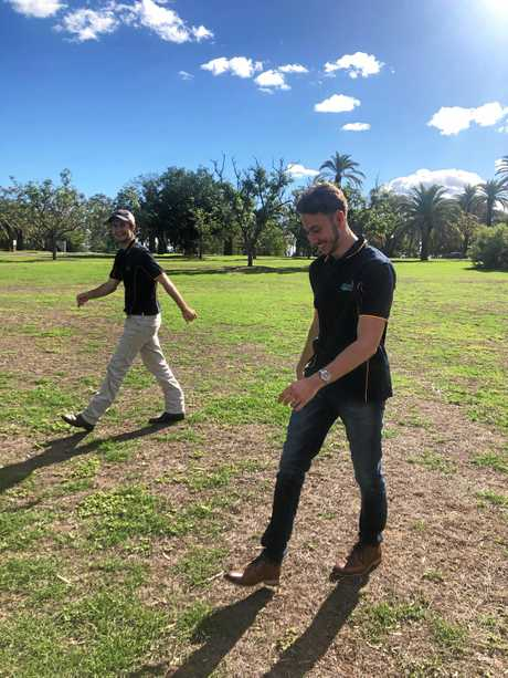 LEAP OF FAITH: Best mates Lachlan Stace and Pat Bourke says the agricultural industry has been