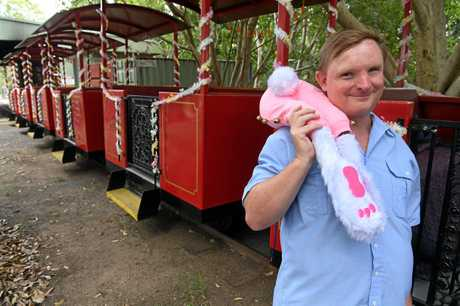 CELEBRATE EASTER: Brian Zella has decorated a steam train in the botanical gardens.