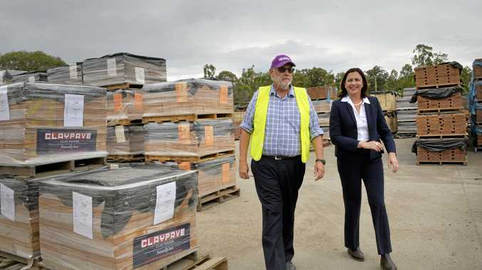 Managing director Allan Andersen giving Annastacia Palaszczuk MP a tour of Claypave.  Photo Inga Williams / The Queensland Times