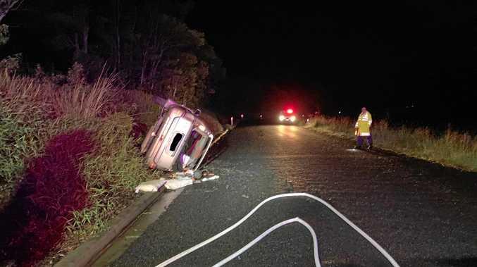 ON SCENE: Members of the Newrybar Rural Fire Brigade attened a motor vehicle crash at Midgen Flat Road Newrybar around 10.30pm on April 14.