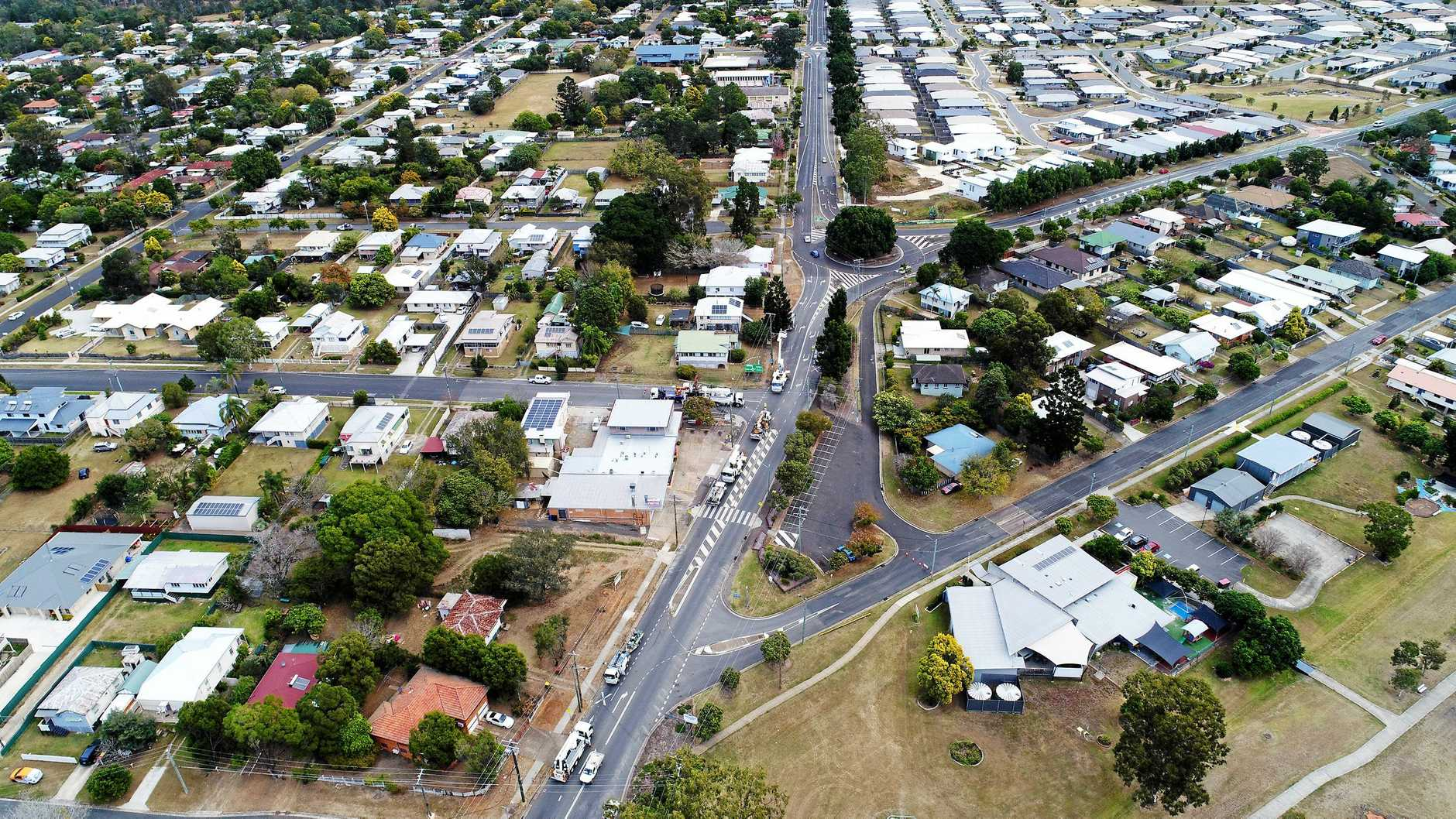 Aerial view of road widening on Old Toowoomba Road at One Mile.