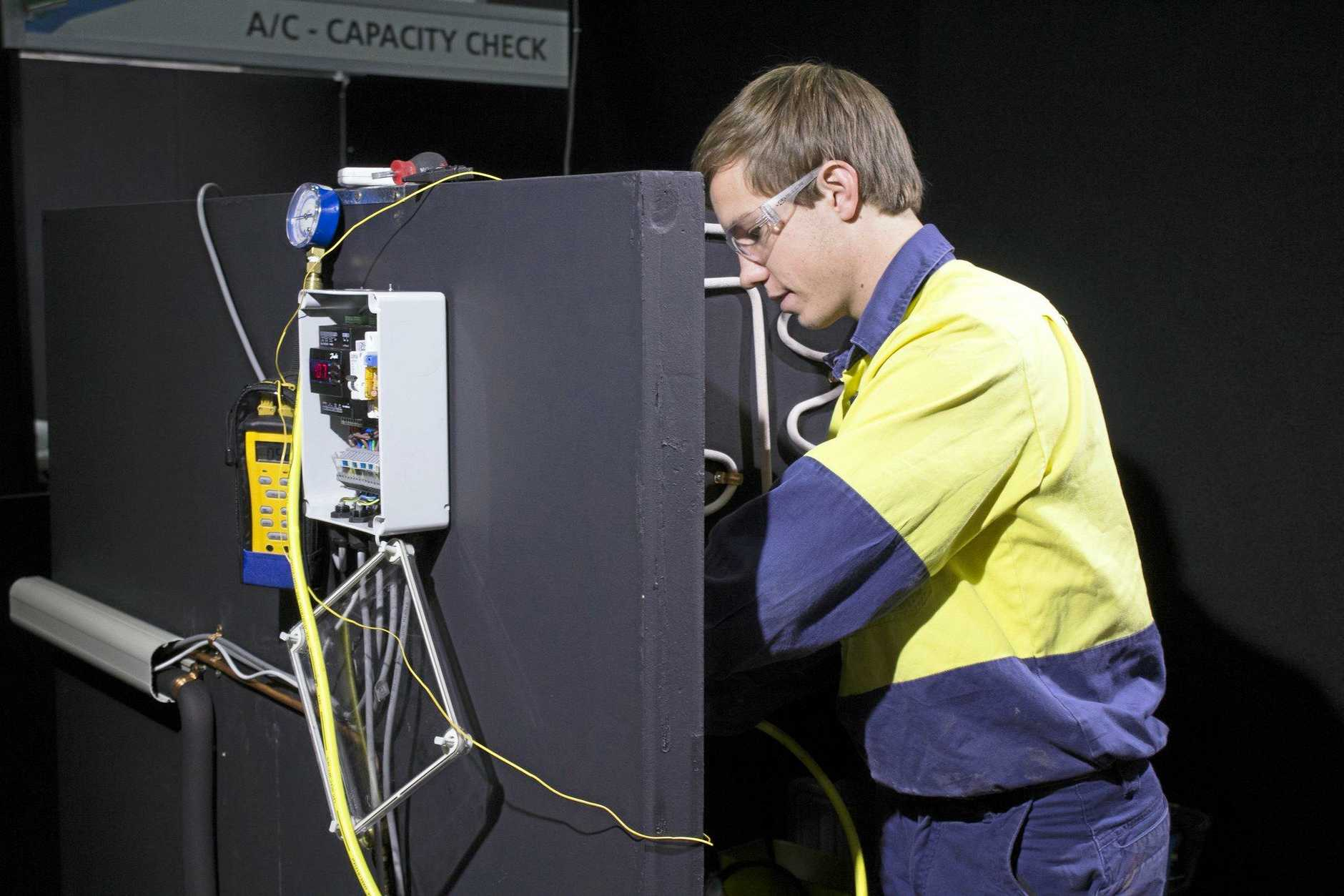 Gympies Patrick Brennan won gold at WorldSkills National Championships 2018, in the refrigeration and airconditioning category. Picture: WorldSkills Australia