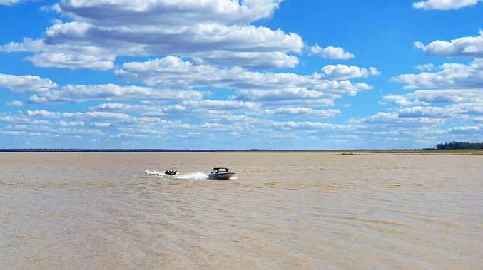 DOWN, NOT OUT: Water sports at Fairbairn Dam. Boating activities are still possible despite the low level.