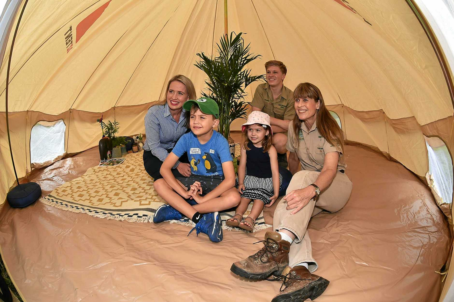 Tourism Industry Development Minister Kate Jones, Tom and Grace Cronin with Robert and Terri Irwin as they check out some of the glamping-style tents.