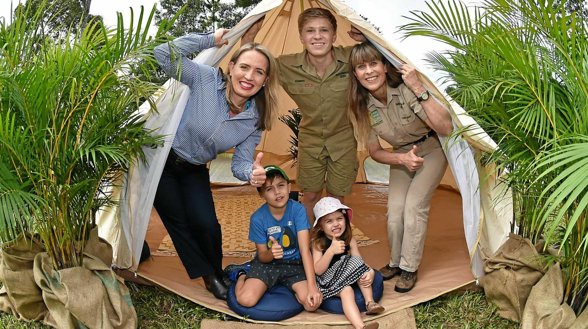 GLAMPING: Australia Zoo has partnered with the Queensland Government to introduce camp-style accommodation at Australia Zoo. Tourism Industry Development Minister Kate Jones, Tom and Grace Cronin with Robert and Terri Irwin.