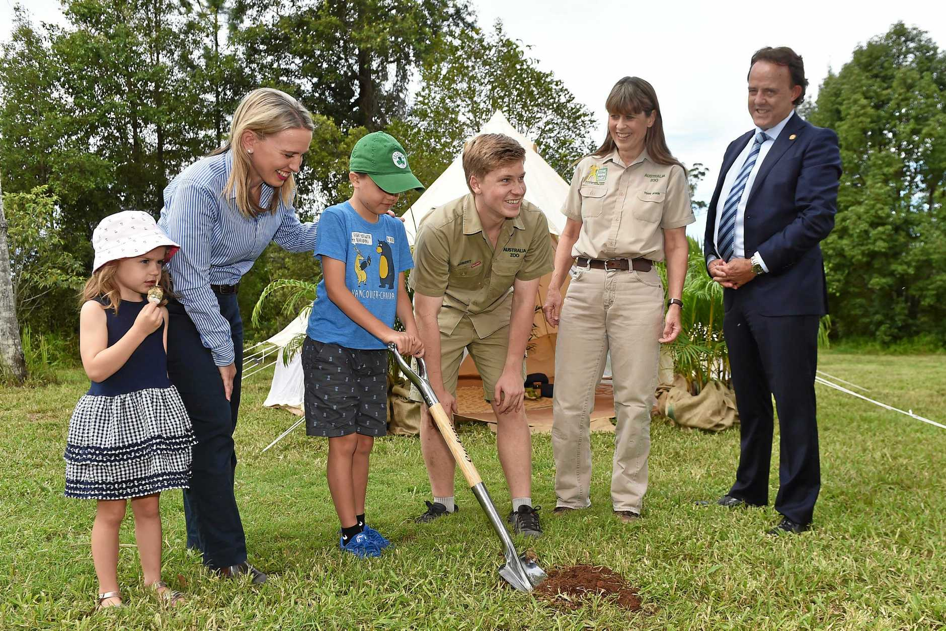 Soil turning at the brand new Camp Crocodile Hunter site at Australia Zoo.
