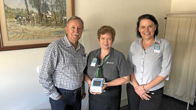 NEW EQUIPMENT: St John's Grace Fund's Wayne Bauer, Nurse Unit Manager Donna Stallan and The Friendlies Foundation's Tunja Cottier.
