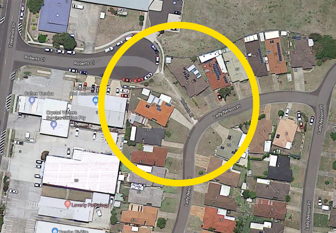 The collision between cyclist and vehicle occurred between Lady Nelson Pl and Roberts Cl, Yamba.