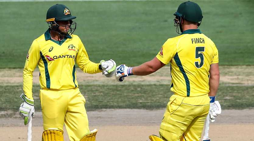 Usman Khawaja (left) and Aaron Finch could open the batting for Australia at the World Cup. Picture: AFP