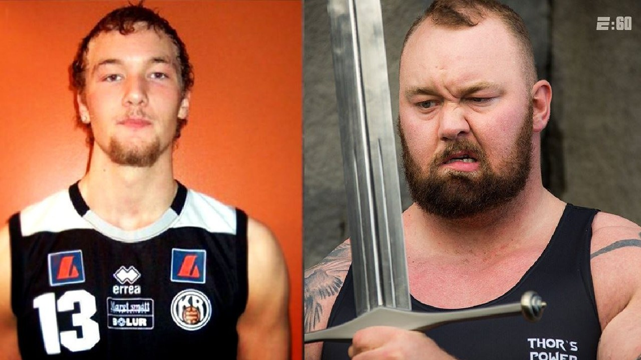 Hafthor Bjornsson as a basketball junior and as The Mountain.