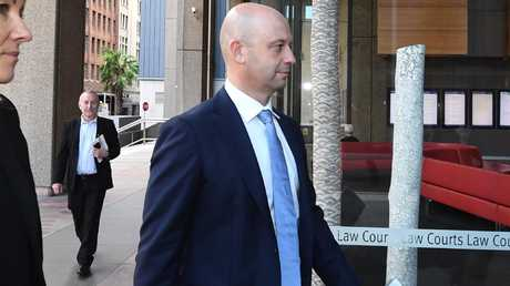 De Belin was greeted in court by NRL boss Todd Greenberg. Picture: AAP