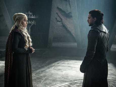 GoT's favourite heroes. Emilia Clarke as Daenerys Targaryen and Kit Harington as Jon Snow. Picture: Helen Sloan/Courtesy of HBO/AP