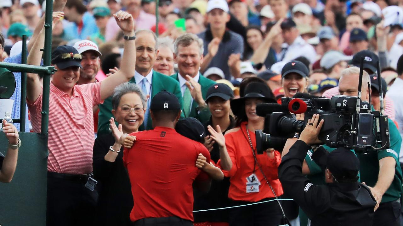 Tiger Woods with his family. Picture: Getty Images