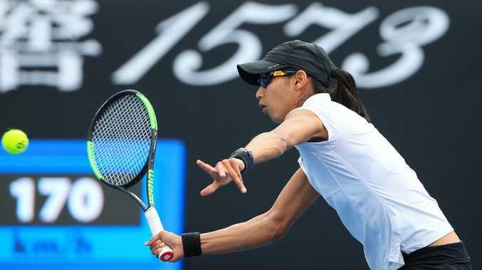 Astra Sharma in action against Maria Sakkari. Picture: Mark Stewart
