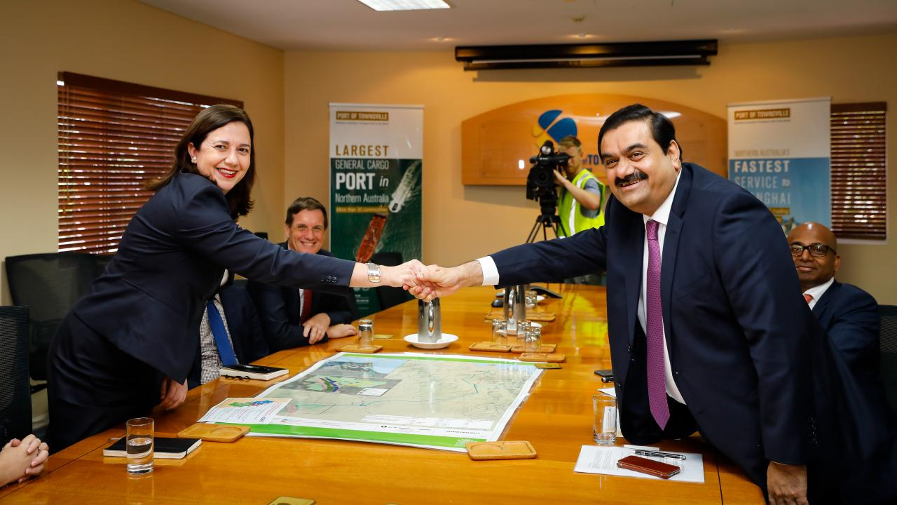 Adani Group chairman Gautam Adani meets with Queensland Premier Annastacia Palaszczuk at the Port of Townsville on December 6, 2016. Picture: AAP/Cameron Laird