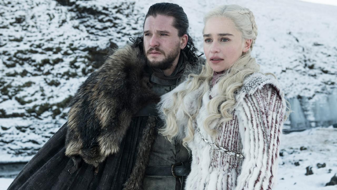 Kit Harington as Jon Snow and Emilia Clarke as Daenerys Targaryen. Picture: Helen Sloan/HBO