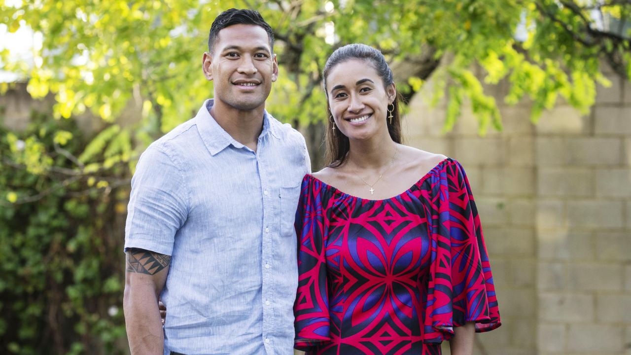 Israel Folau with his wife Maria Folau at Kenthurst Uniting Church. Hollie Adams/The Australian