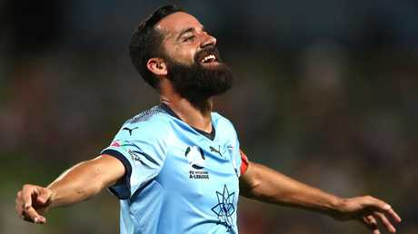 Alex Brosque celebrates scoring another goal for Sydney FC. Picture: Getty Images