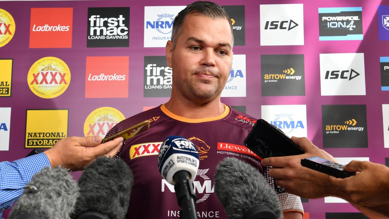 Broncos coach Anthony Seibold is seen during a press conference before Brisbane Broncos training at Clive Berghofer Field in Brisbane last week. Picture: AAP/Darren England