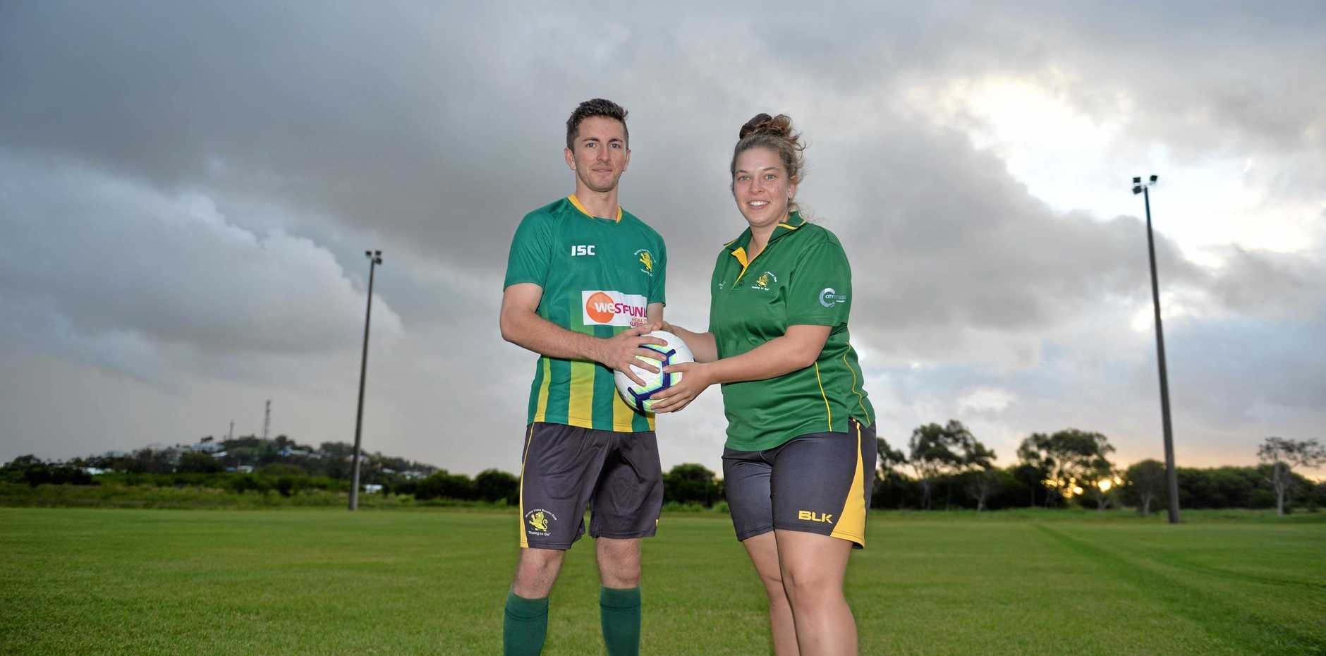 Mackay Lions players Jake Smith and Hannah Giannangelo at Lions Park. 12/04/19