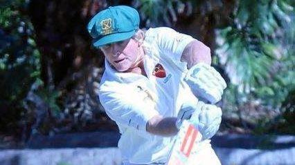 HIT IT: Warren Kimlin batting for the over 60s team.