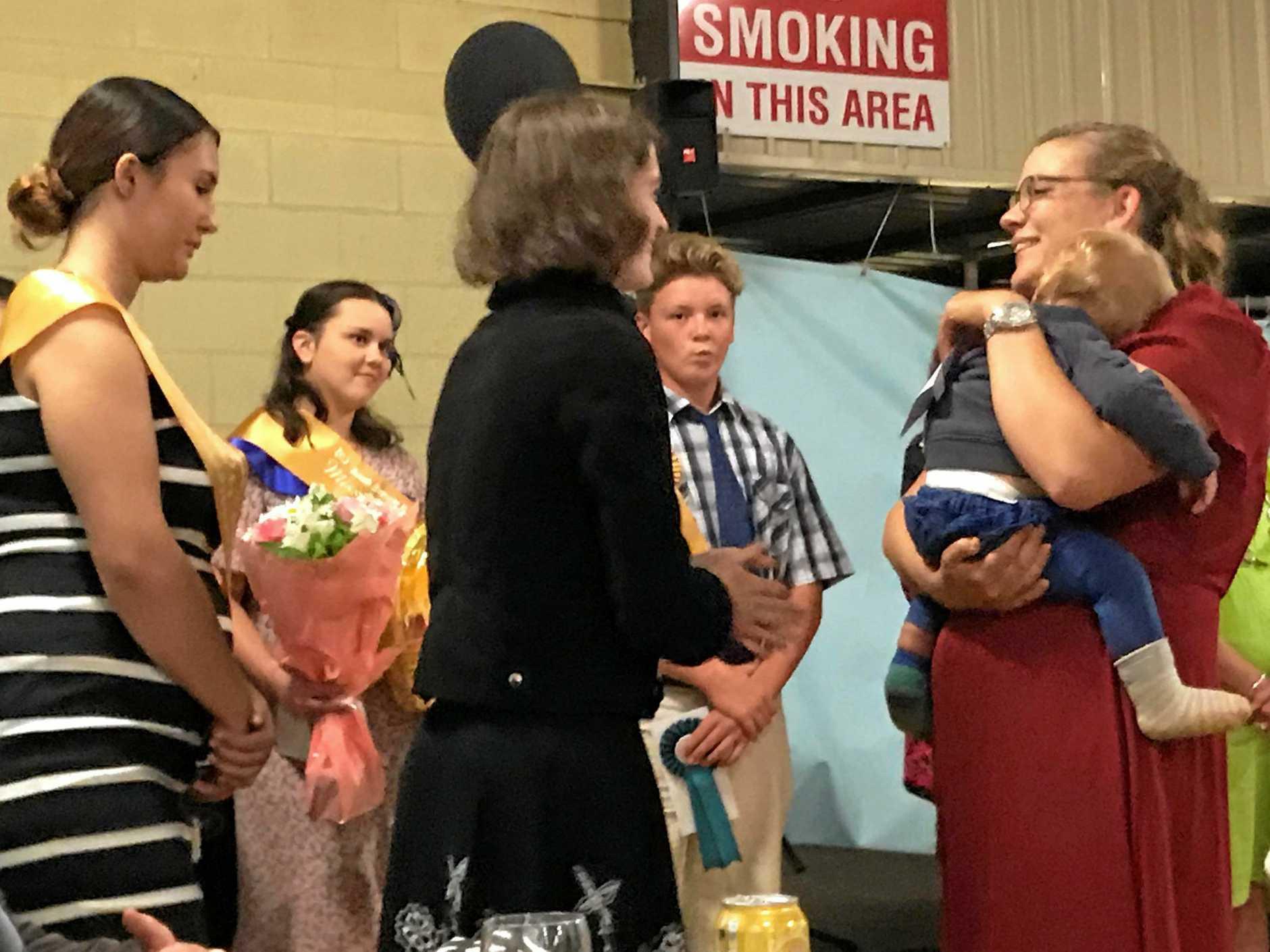 AMBASSADOR: Rural Ambassador for the 2019 Kingaroy Show Brigitta Knopke receives her ribbon at the Kingaroy Show Dinner on April 12.