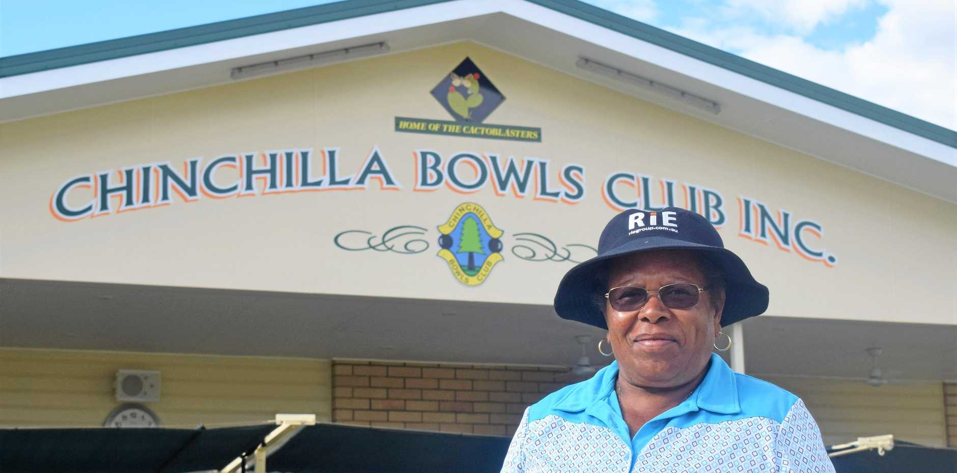 Former Australian international lawn bowler, Maria Rigby at the Chinchilla Law Bowls mixed fours carnival.