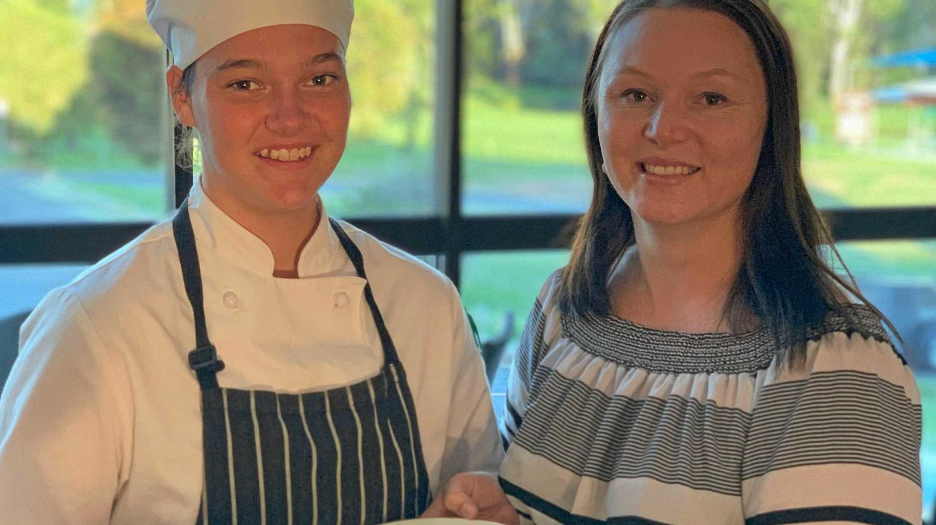 ANZAC DAY PARMY: Nanango RSL's apprentice chef, Caitlyn Wilson with manager, Sheena Lindholm.
