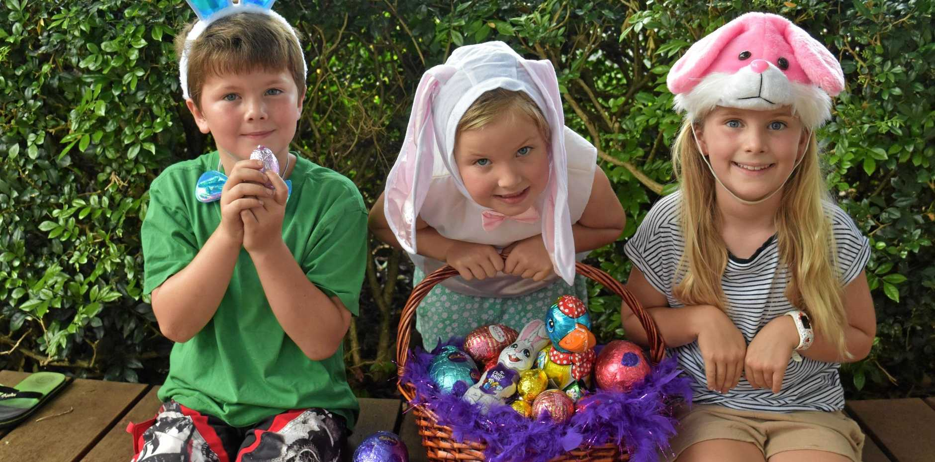 HOP TO IT: Tom, Aggie and Milla Honan are ready for Easter.