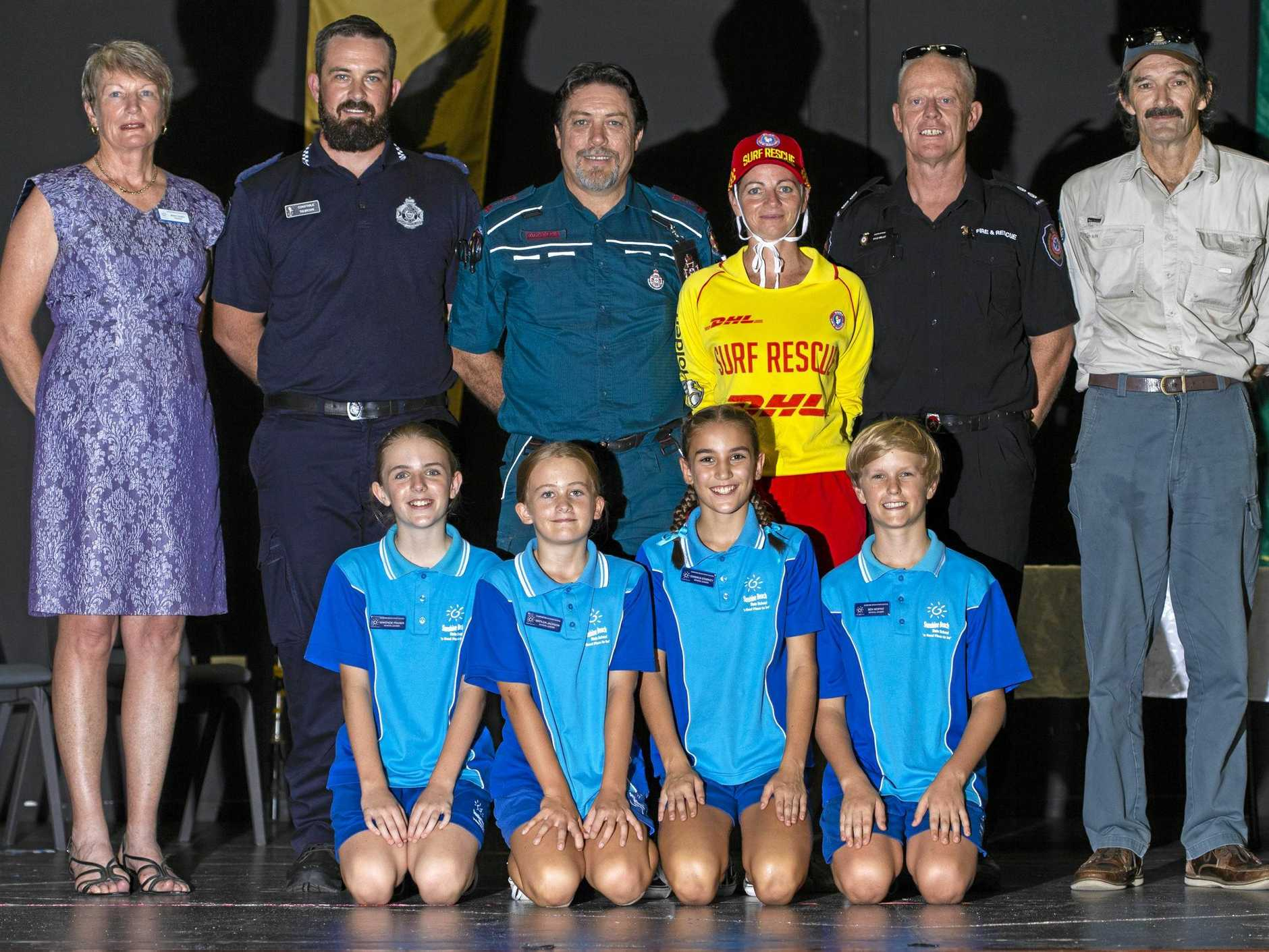 CONGRATULATIONS: Principal Jenny Easey with special guests and 2019 school leaders at Sunshine Beach State School's recent induction ceremony.