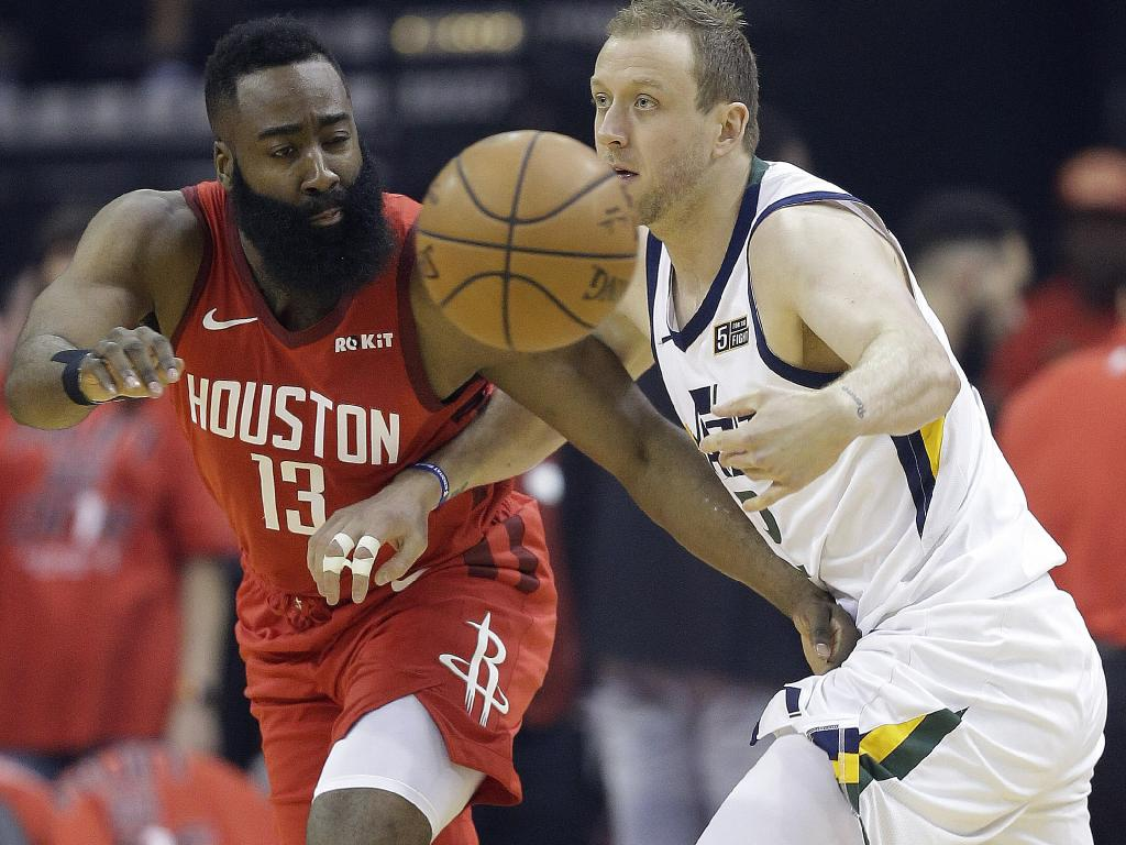 Utah Jazz forward Joe Ingles (right) and Rockets guard James Harden could face off in Australia. Picture: AP